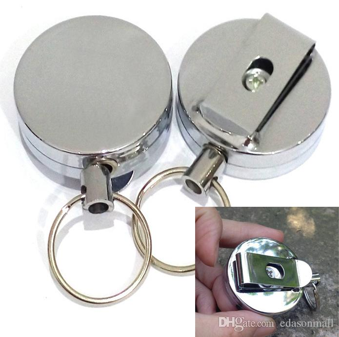 All Metal Keyring Stretch Keychain Easy Pull Buckle 4 High Resilient Silver Color Telescopic Rope Anti Lose Anti-Theft Key Ring D709L