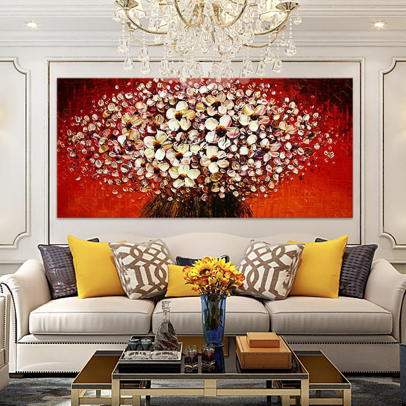 Handpainted & HD Print Modern Abstract Flowers Art Oil Painting palette knife on Canvas Home Decor Wall Art Multi sizes /Frame Options l66