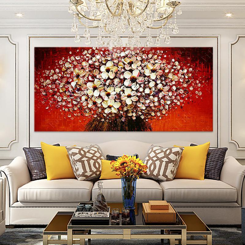 Pintado à mão HD Imprimir faca Flores abstratas Art Oil paleta de pintura moderna na lona Home Decor Wall Art multi tamanhos / Opções do quadro L66