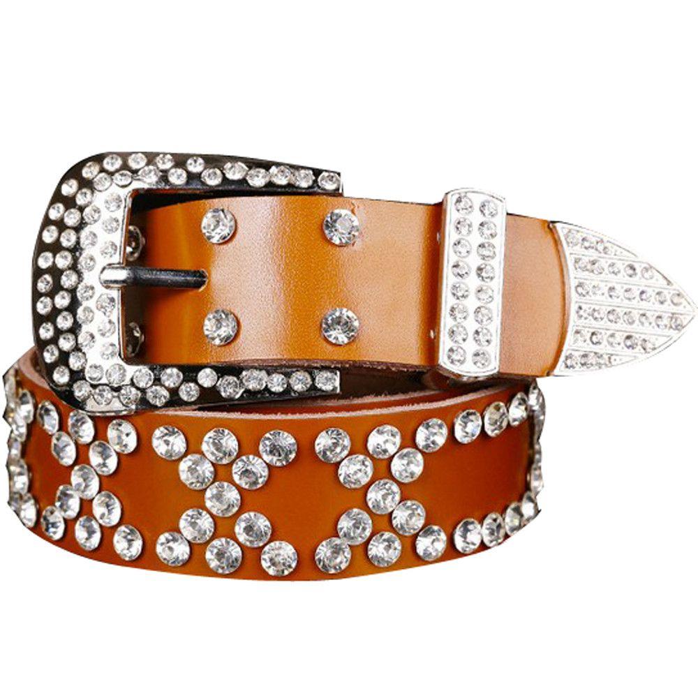 New Vindo Adorável Discount ocidental da vaqueira Bling Cowgirl Correia de couro claro Rhinestone Crystak correias novas mulheres