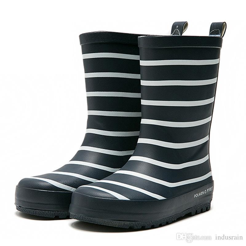 Acheter Nouveaux Enfants Bande De Pluie Bottes Garçons Filles Mi Mollet Bottes De Pluie Imperméables En Caoutchouc Anti Slip Chaussures D'eau Pour