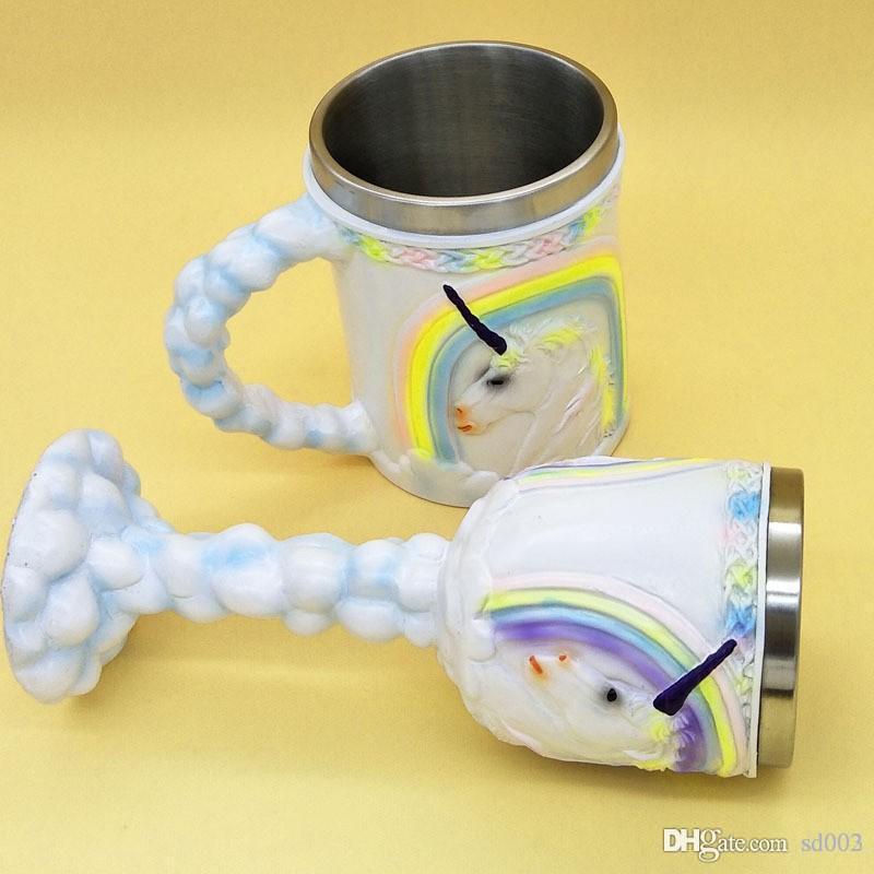 Бардиан круглый Кубок двойные стены с ручкой Кубок стерео 3D Единорог нержавеющей стали бокал для свадьбы хорошее качество 25gf ДД