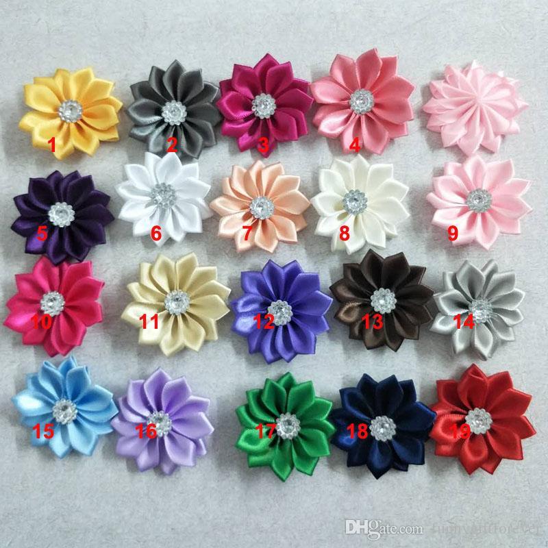 20pcs/lot 4.5cm Embellishe Satin Flower Headbands Satin Flowers 12pcs Petal Falt Back Without Hair Clip for Baby Decoration Photography DIY