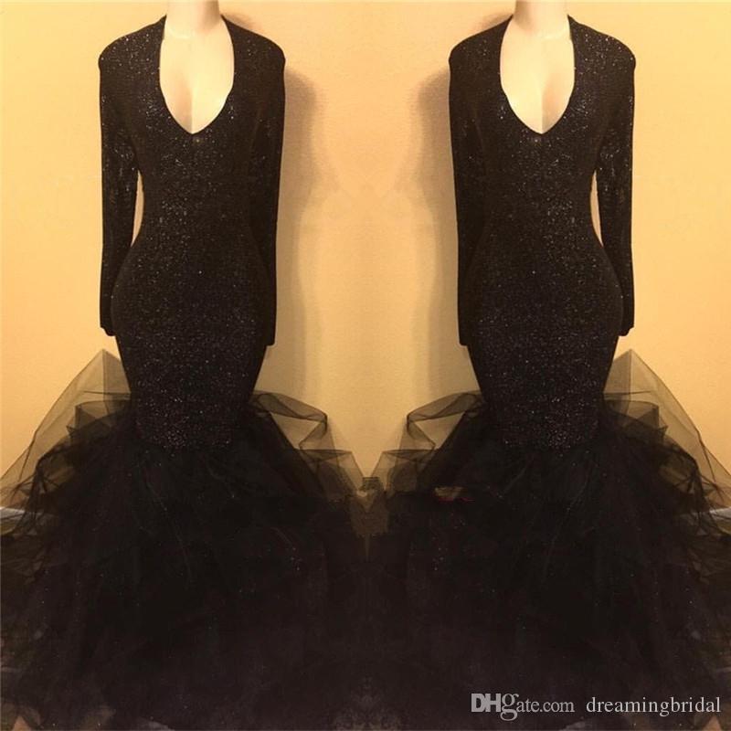 Siyah Uzun Kollu Mermaid Gelinlik Modelleri 2018 Yeni V Boyun Tull Kat Uzunluk Uzun Örgün Abiye Parti Törenlerinde Custom Made Artı Boyutu