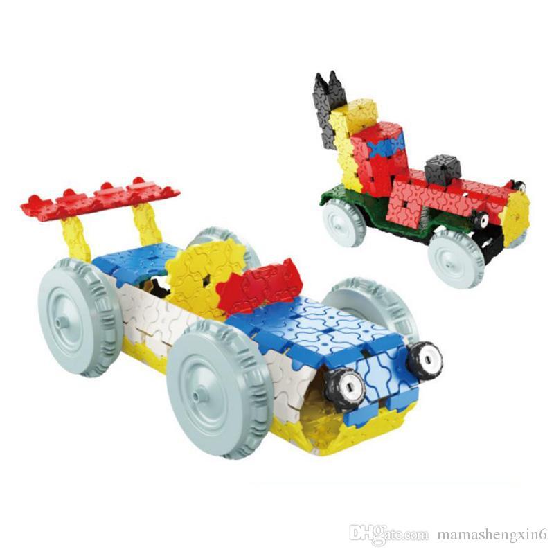 Children 7 Styles ABS Magical Interlocking Blocks Toys Moterbike Plane Vehicle Set Assembled Puzzle Building Blocks Christmas Gifts Blocks