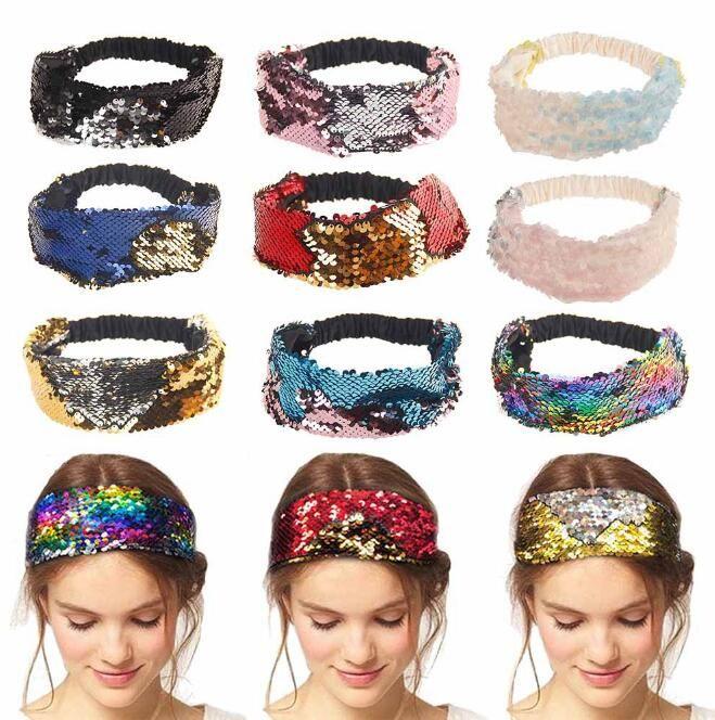 Réversible sirène paillettes bandeau paillettes ceinture de cheveux pinces à cheveux paillettes 2018 nouvelle mode bijoux de cheveux 10 styles