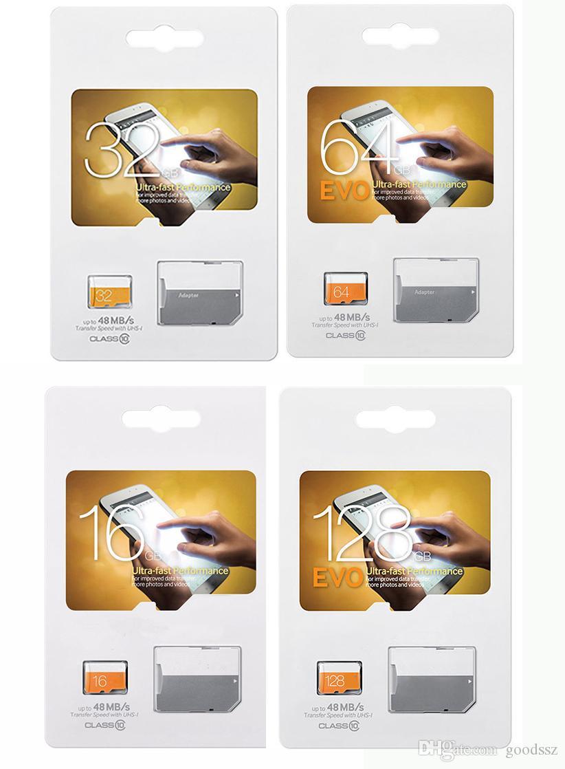 EVO 128GB 64GB 32GB 16GB UHS-I 메모리 카드 클래스 10 TF SD 마이크로 카드 및 어댑터 빠른 속도