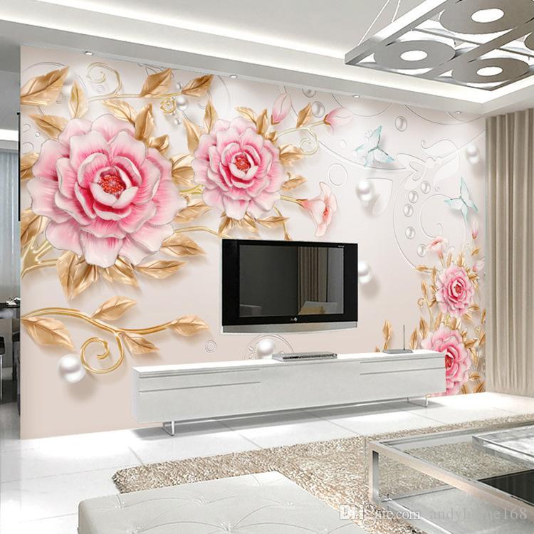 Custom 3D Photo Wallpaper 3D Stereoscopic Embossed Flower Wall Painting Modern Simple Living Room TV Background Wall Decor Mural