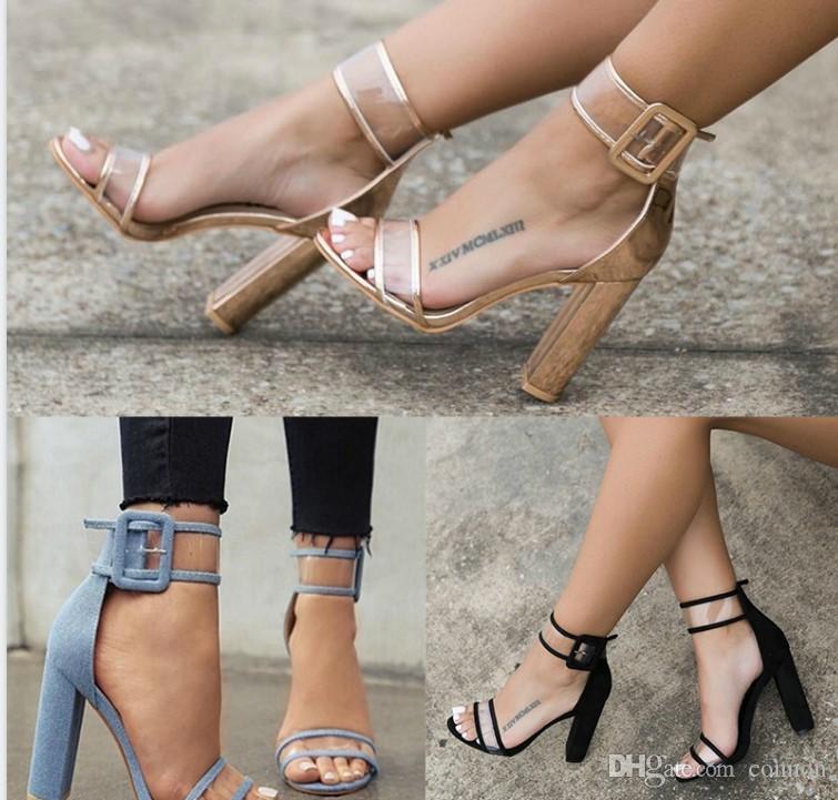 Super High Chaussures Femme Pompes claires Sexy Transparent Bracelet Boucle Sandales d'été Talons Chaussures Femme Chaussures Soirée