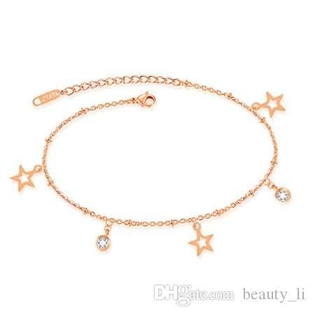 JewOrna Coreano Boho Starfish Donne Catena Piede Gioielli Bracciale Cavigliera Femme cheville bijoux pulseras Cavigliere In Oro Rosa JOB008