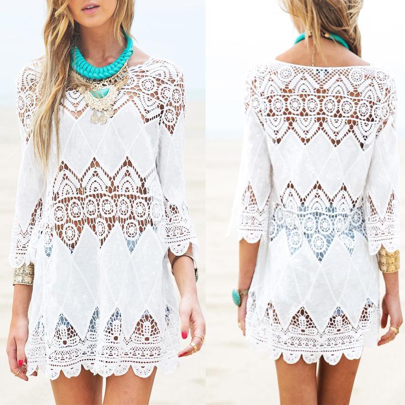 Abito da spiaggia mini abito bianco da donna elegante mezza manica o-collo in pizzo floreale uncinetto scava fuori abiti da spiaggia solido vestidos