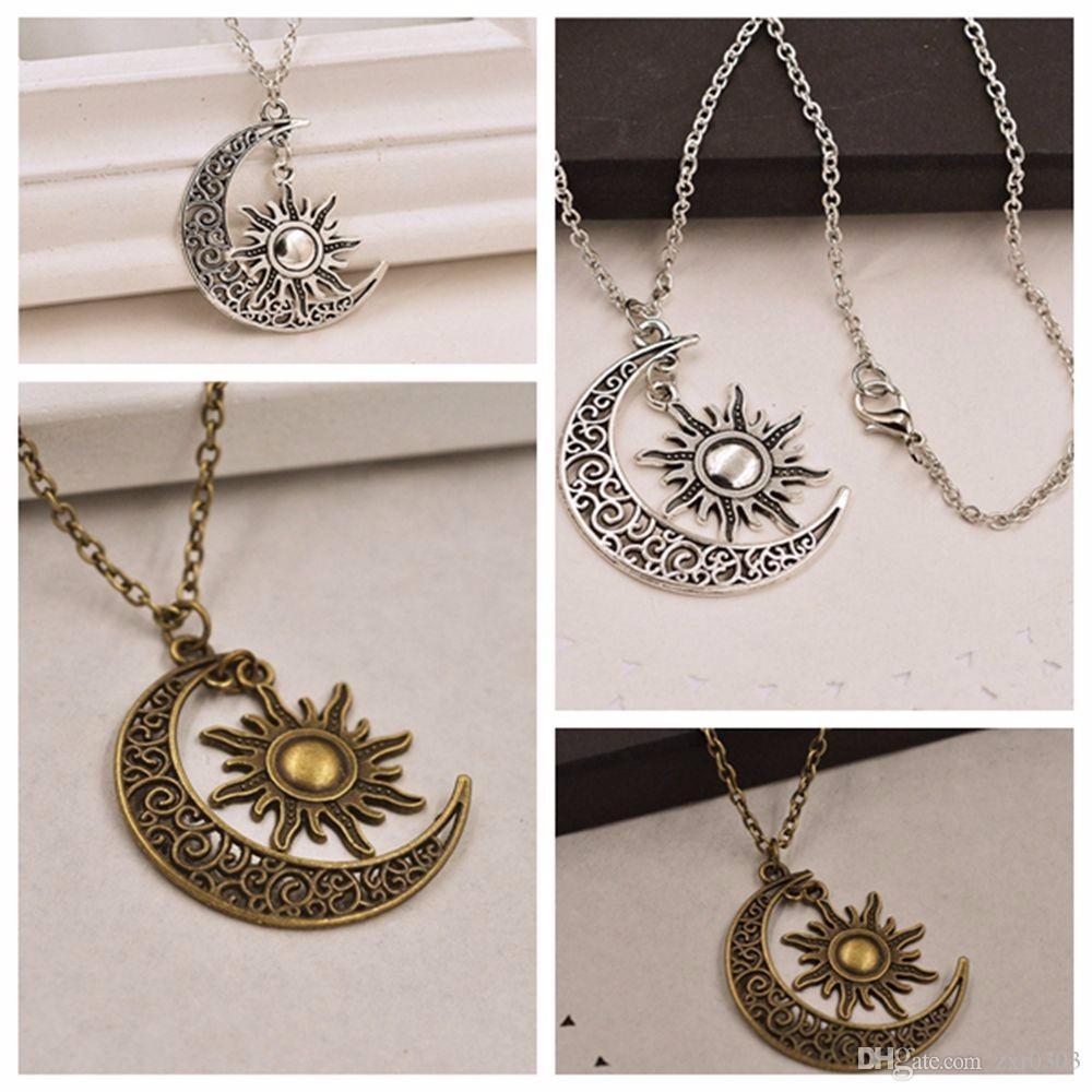 ashion женщины ожерелье старинные творческий серебряный полумесяц Луна Солнце Шарм ожерелье полумесяц Луна и Солнце партия ожерелье