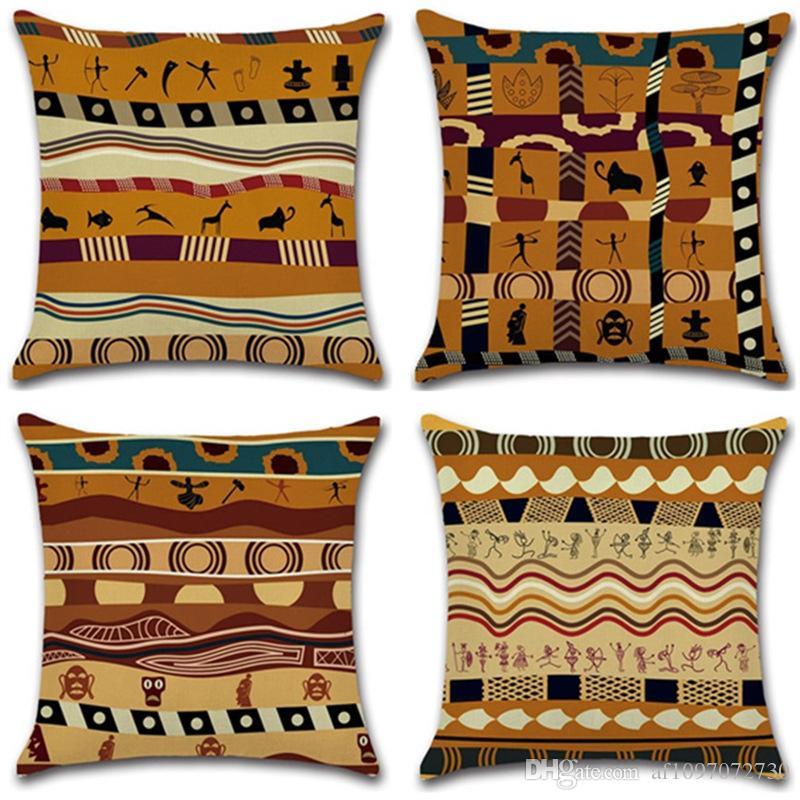 حالة جديدة وسادة 4 أنماط غطاء وسادة ساخنة القطن الأفريقي طباعة العرقية نمط المخدة القديمة غطاء وسادة ديكور المنزل