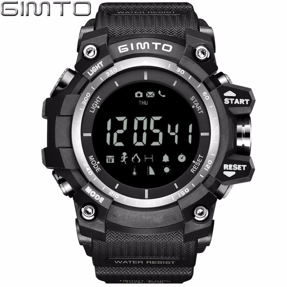 X GIMTO Military Sport Smart Watch Men Waterproof Silicone Diving Stopwatch Shock electronic wrist watches Bluetooth Smartwatch