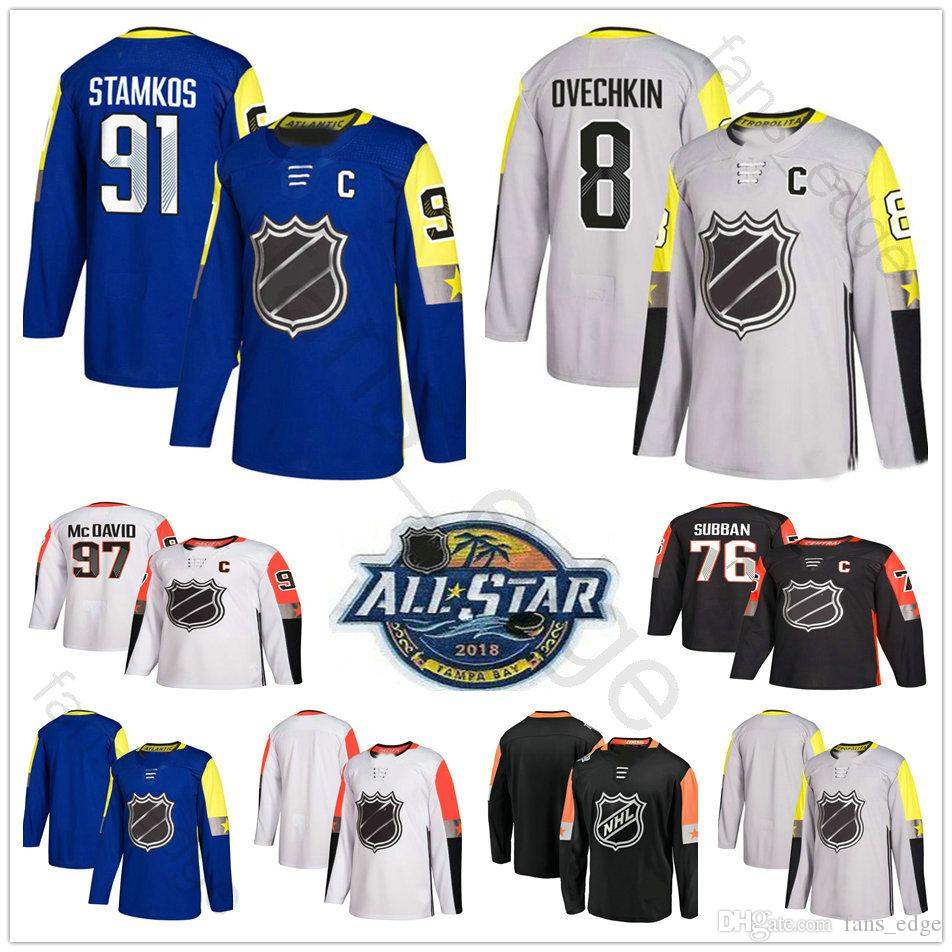 Maillots de hockey des étoiles 2018 Lundqvist Shattenkirk Claude Giroux Voracek Letang Kessel Maillot Sidney Crosby Tavares Ovechkin Holtby