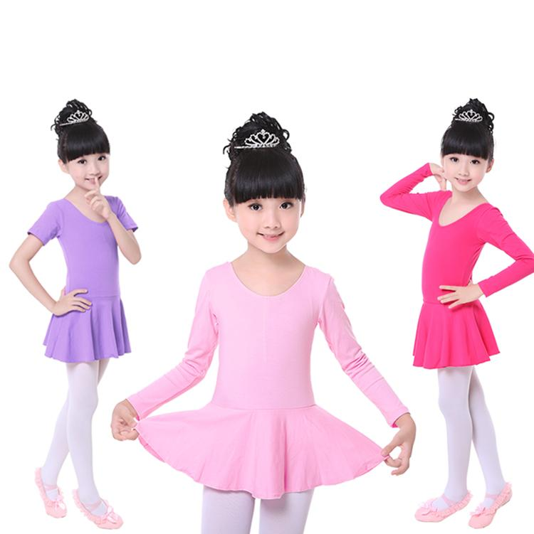 새로운 핑크 코튼 발레 레오타드 어린이 롱 / 반소매 스커트 키드 발레 댄스 복장 소녀 라운드 넥 투투 복장 댄스