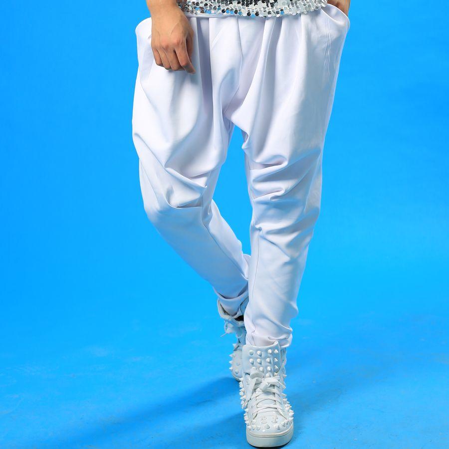 Sahne kişilik erkekler pantolon harem pantolon erkekler ayak pantolon şarkıcı dans rock moda pantalon homme sokak stil yenilik beyaz