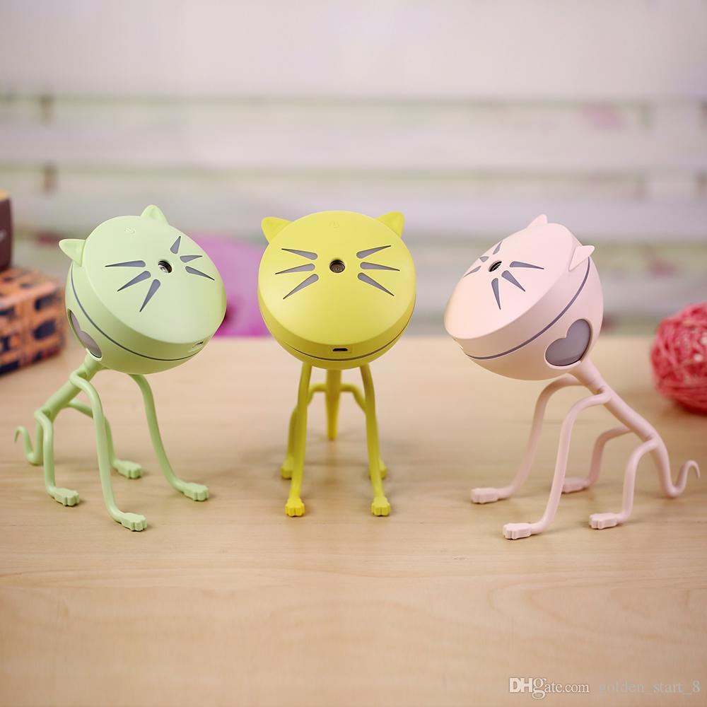 Sevimli Kitty Nemlendirici Çıkarılabilir Ev USB Kitty Mist Maker Renkli Gece Işık ile 150 ML Kapasiteli Aroma Difüzör