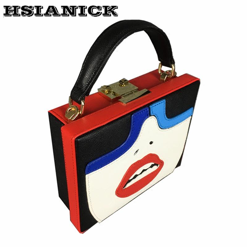 New fashion casual red lips teeth eyebrows mouth bills shoulder bag square handbag female bag banquet party evening clutch