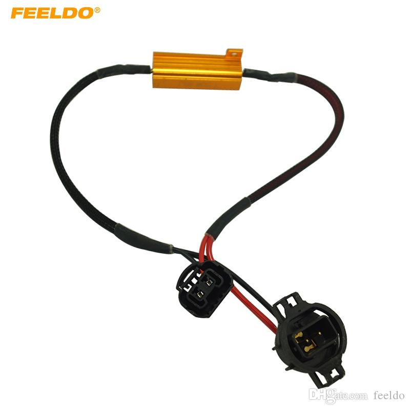 50w 6ohm 12V H16 LED Light Fog Xenon HID DRL Лампа Decoder Резистор Canbus Жгут проводов адаптера FEELDO автомобилей # 5341