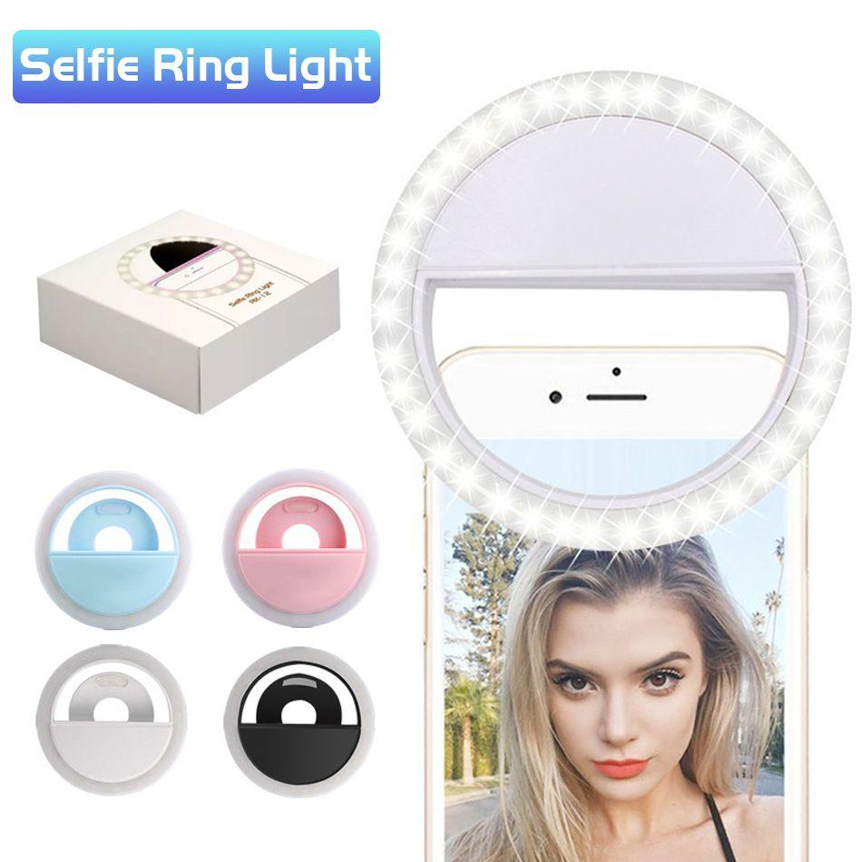 Luminosité réglable de la lumière de téléphone Selfie rechargeable LED de luminosité de téléphone portable avec la photographie améliorant la batterie efficace pour la caméra dans la boîte de vente au détail
