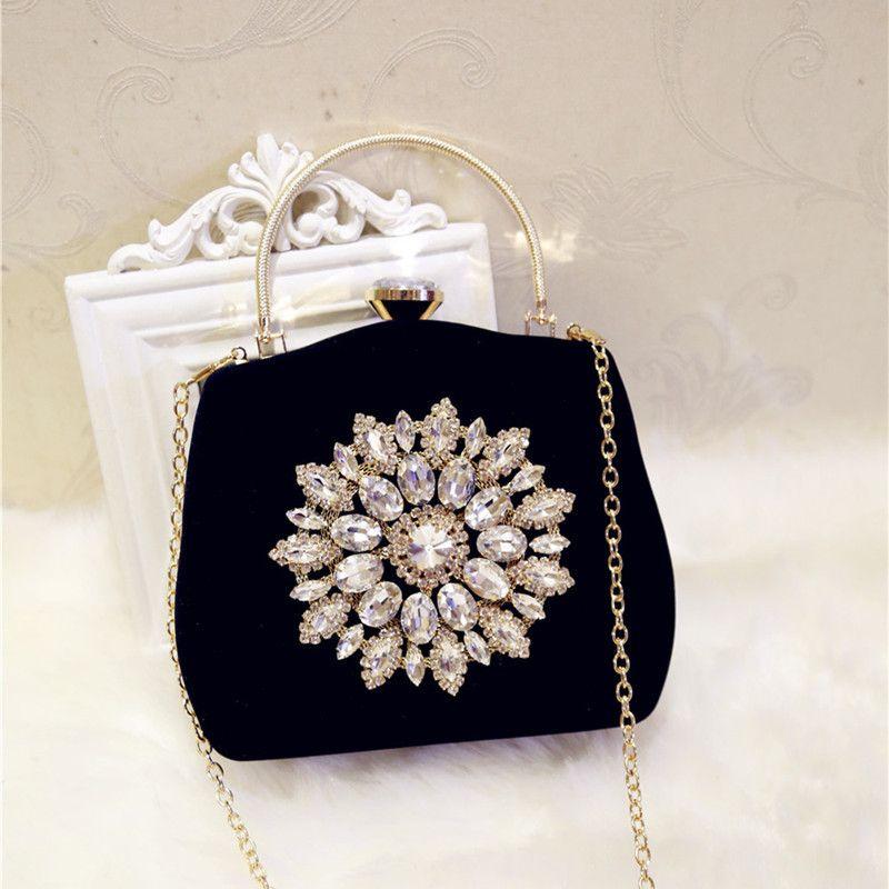 Clutch Purse Evening Bags For Womens Chain Dress Handbag Rhinestones Wedding Sunflower