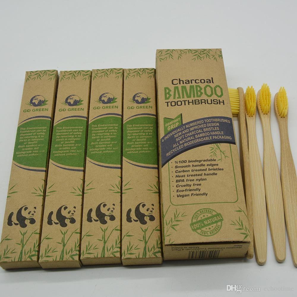 Echootime 500 Set Doğal Bambu Diş Fırçası Bireysel Numaralı BPA Free kıllar Private Label Özel Logo Ücretsiz Deisgn Kutuları Ücretsiz Gemi