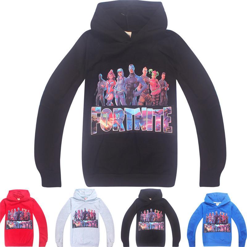2018 Kids Fortnite Heros Pullover Hoodie Casual Hooded Sweatshirt Jumper  Fortnite Royale Castle Long Sleeve Youth Fleece Sweaters 120cm From