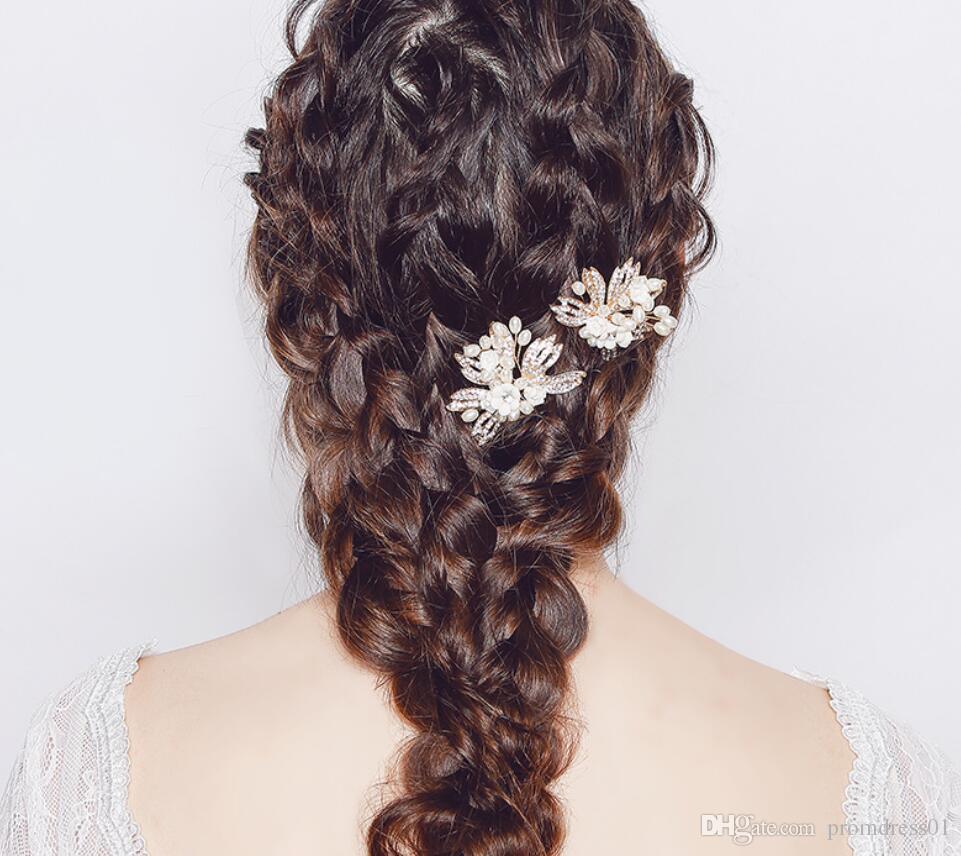 New Arrival Wedding Hair Pins for Bridal Gold Crystals U Pearls Bridal Hair Pins Headpieces