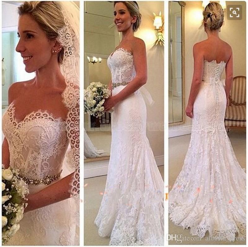 Bohemian Full Lace Mermaid Wedding Dresses Beading Sash Strapless Beach Wedding Gowns Summer Custom Made Bridal DressFull Lace Bridal Gowns