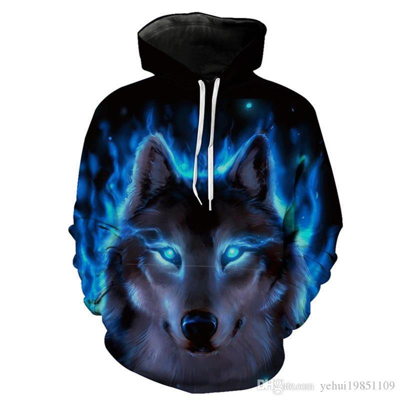 3D Men Women Ice Fire Wolf Hoodies Sweatshirts Fashion Pullover Autumn Tracksuits Harajuku Outwear Casual Animal Male Jacket