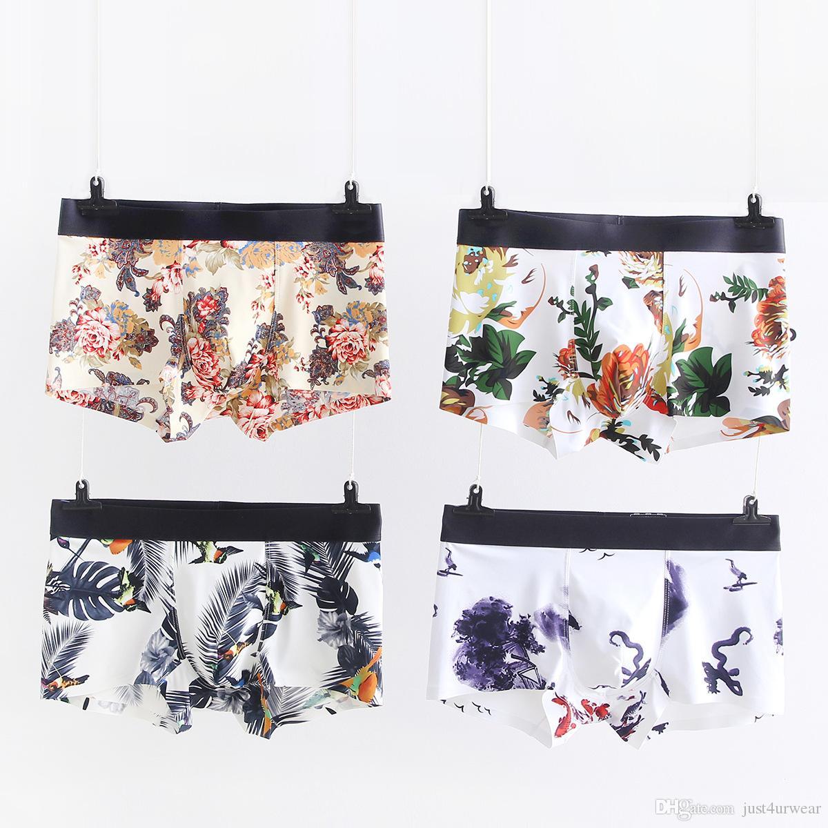 Homme floral imprimé confortable sous-vêtements respirant sous-vêtements vêtements mode sans soudure de taille moyenne de la taille L-4XL