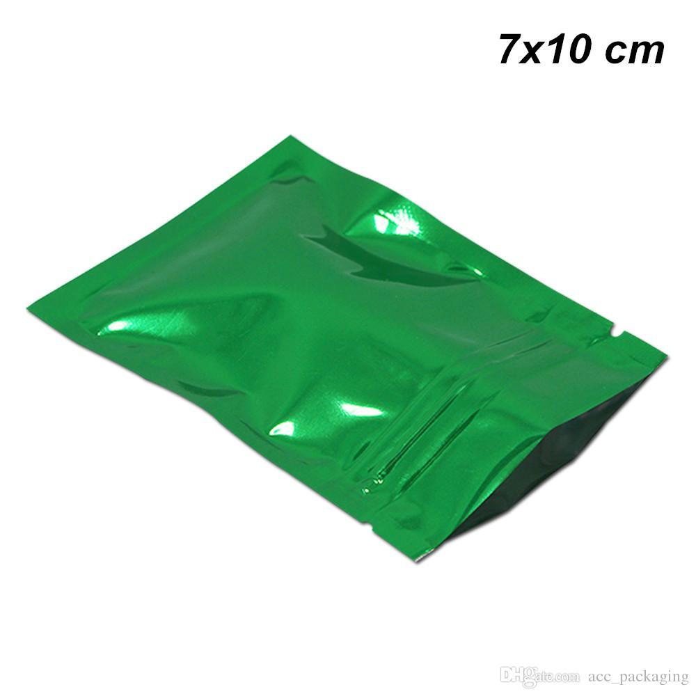 Verdes 7x10 100pcs cm / Lot folha de alumínio Mylar Zipper Seal calor Amostra pacotes Mylar Sacos com Notch Mylar Foil Zipper fechamento Packing