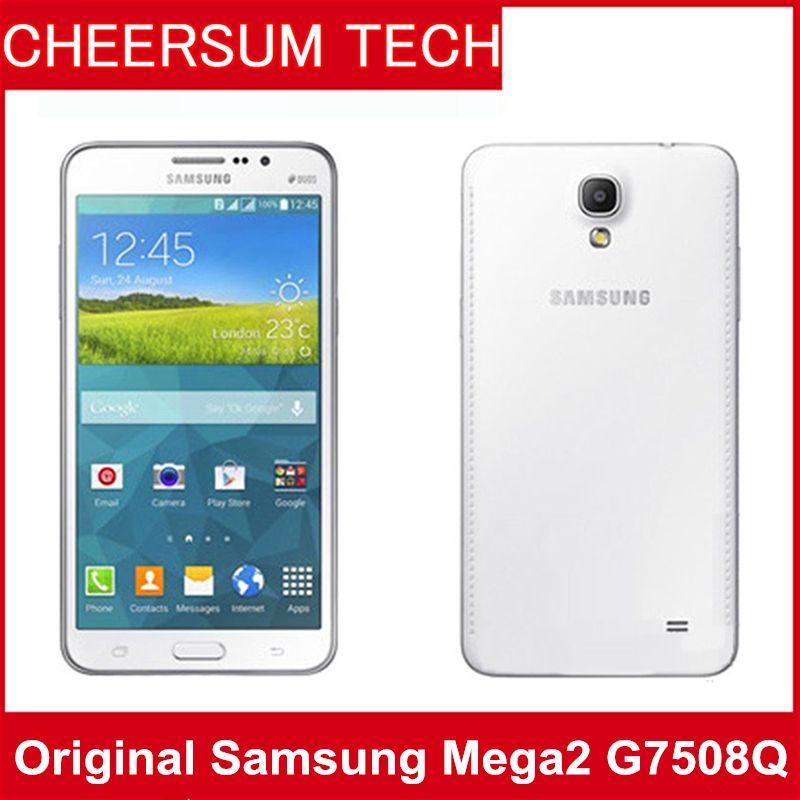 Orijinal Yenilenmiş Samsung GALAXY Mega 2 G7508Q RAM 1.5GB ROM 8GB 6 inç HD Ekran 8MP / 2.1MP Unlocked Quad-çekirdekler mart telefon