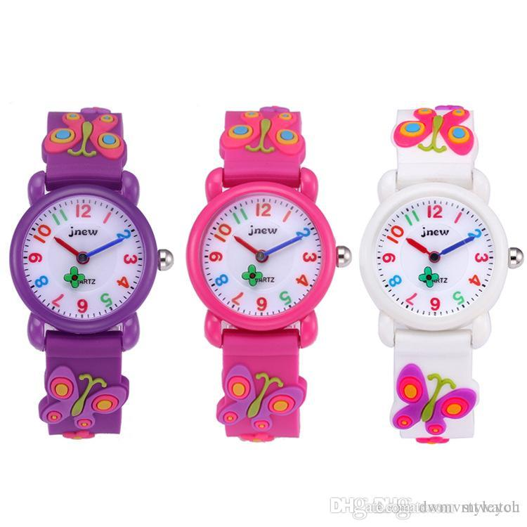 Kid Watch 3D Cartoon Schmetterling Schöne Kinder Mädchen Jungen Kinder Studenten Quarz Armbanduhr Sehr beliebt Wristwatc Sport Uhr