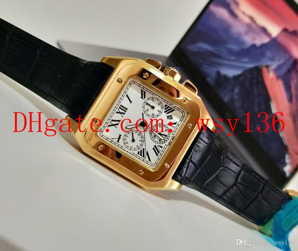Neue Herrenuhr Mechanische Automatische 100XL 18 Karat Roségold Schwarz Lederband Herren Sport Armbanduhren