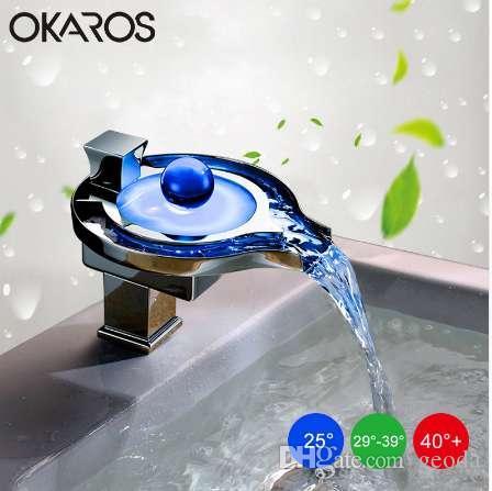OKAROS LED Musluk LED Banyo Havzası Musluk Pirinç Krom Biten Şelale Musluklar Su Güç Havzası Led Dokunun Mikser Torneira