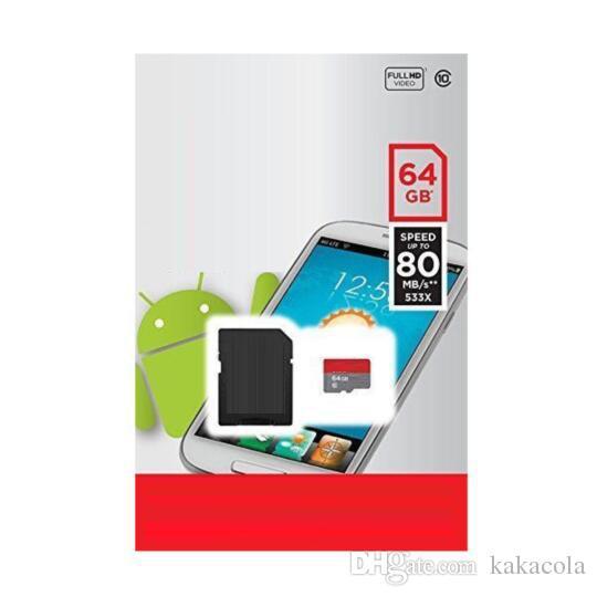 2020 Heet Wit Zwart Versie A1 100 Mbps Android High Speed TF Memory SD-kaart + Gratis SD-adapter + Blister Retail Pakket