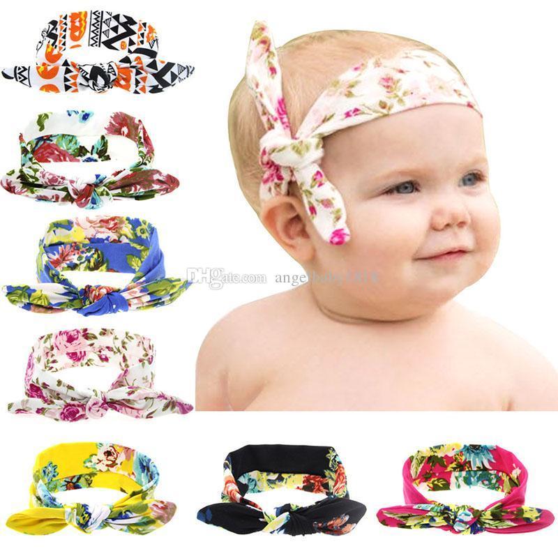 los niños de los bebés de las vendas del oído del conejito infantil floral Peony impresión nudo abrigo de la cabeza niños accesorios para el cabello elástico Hairbands tocado