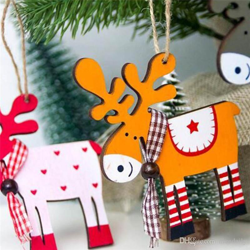 Pendenti pendenti di cervi pendenti in legno per albero di Natale Decorazioni per feste di Natale con ornamenti per albero di Natale