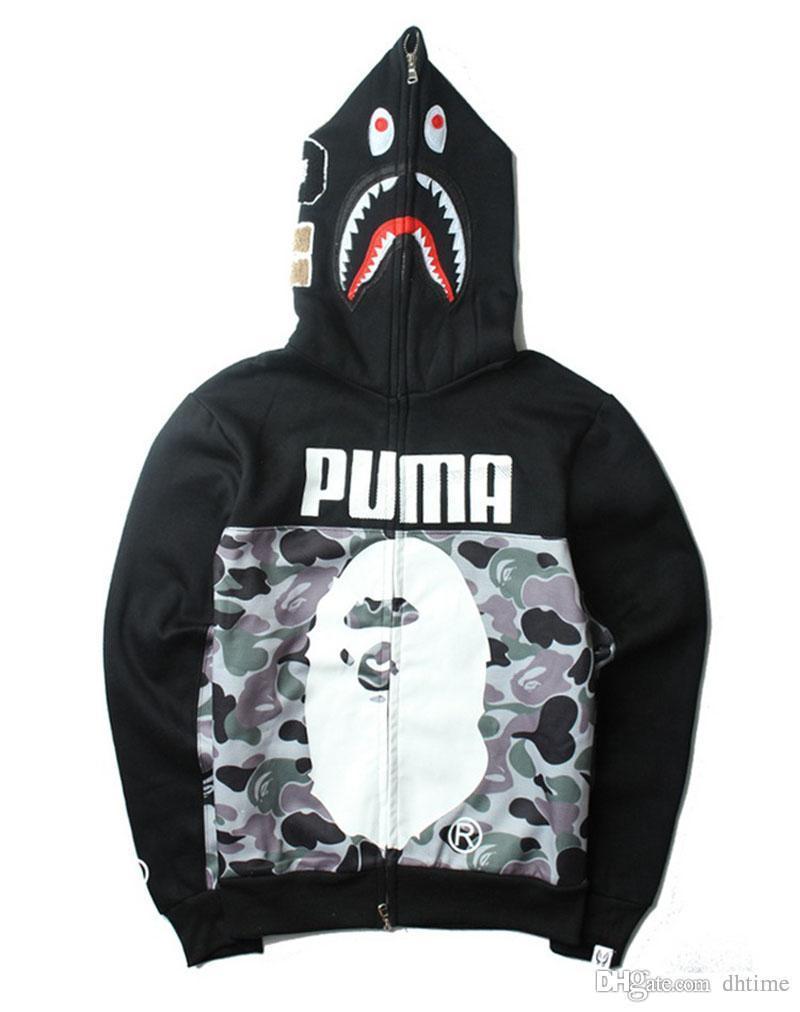 Moda Uomo nero con cappuccio Felpe con cappuccio Camouflage Zipper modo del cardigan libero del cappotto popolare marchio giapponese risvolto in pile H