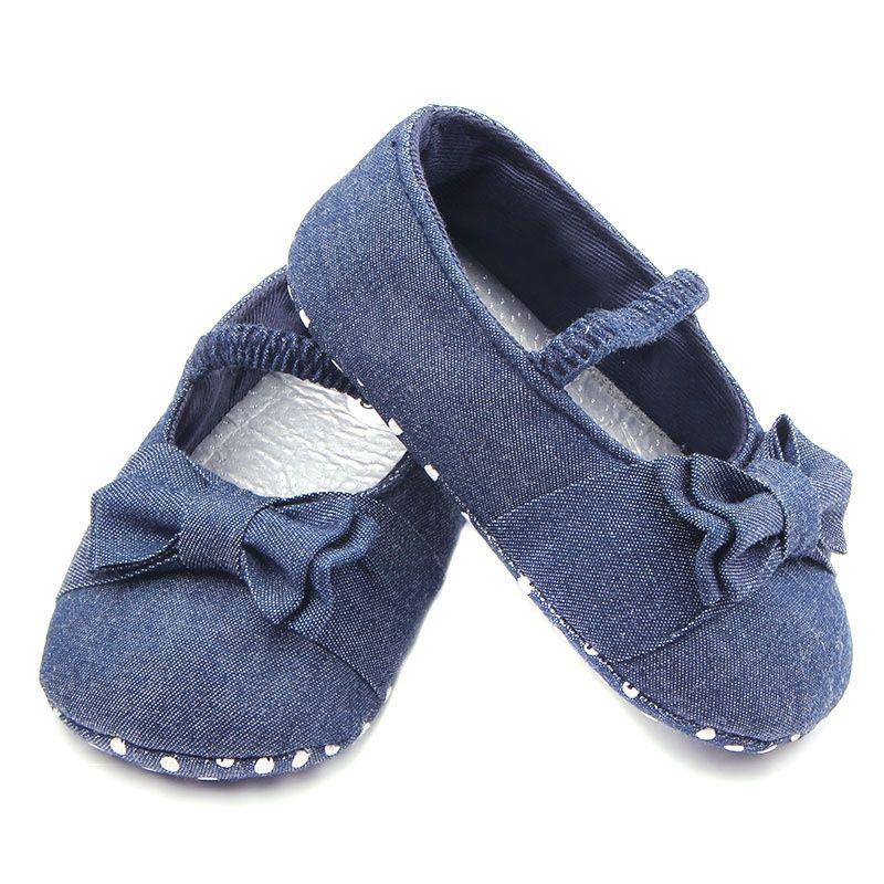 Bebek ayakkabı ilkbahar ve sonbahar denim tuval elastik bant bebek ayakkabıları bebek yürümeye başlayan ayakkabı