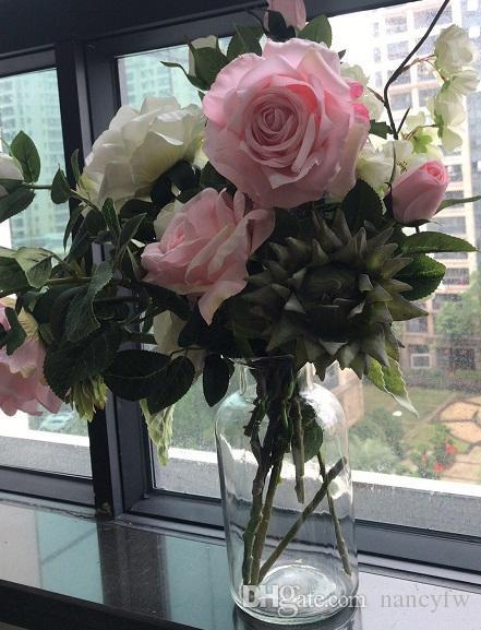 5 Farben Startseite Akzente Faux Floral One Bouquet 2 Rose Blütenköpfe Dekor Kunstblumen Bouquet
