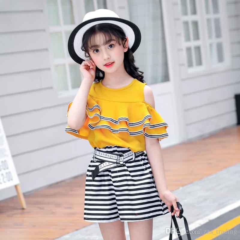 Compre Modelos Mais Recentes De Verão Roupa Das Crianças Camisas Brancas Calças Florais Roupa Para Meninas 6 10 Anos Crianças Ternos Criança Outfits