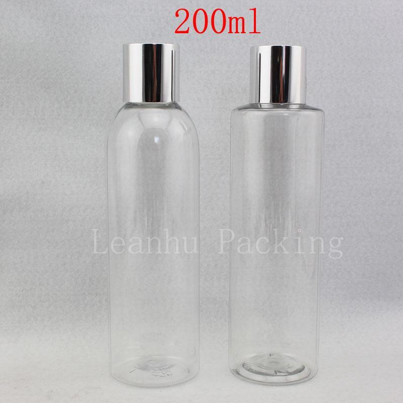200ml x 30 Boş Temizle Kozmetik Doldurulabilir Şişeler, Gümüş Kapak, Parfüm Plastik Konteyner ile Şeffaf Losyon Şişe