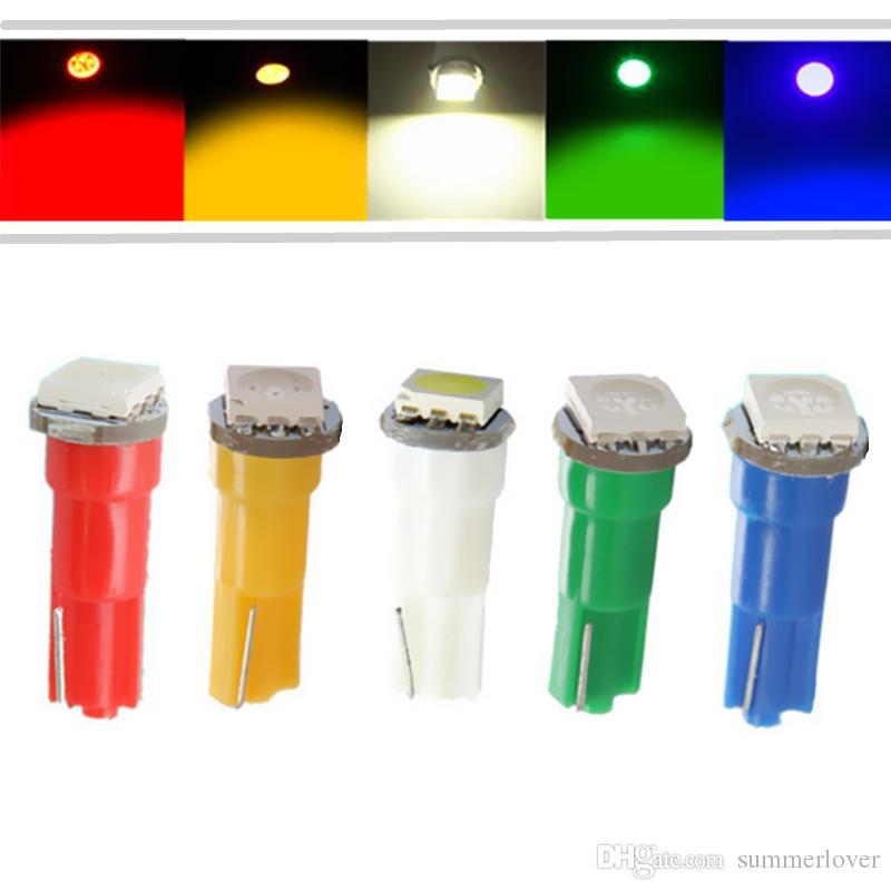 Автомобиля 12V T5 5050 SMD интерьер Светодиодные лампы лампы 17 18 74 37 70 73 Панель Gauge Cluster клиновые панели приборов лампочки свет DC 12V