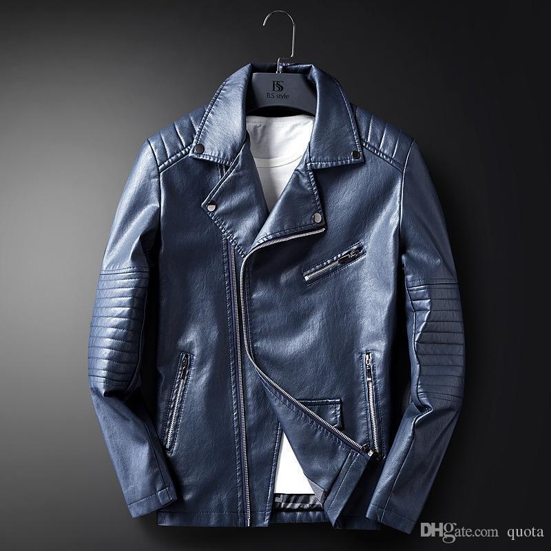 Homme Serré Vestes Vestes Coréenne Automne Et Hiver Nouveau Pu Cuir Moto Veste Qualité Stand Col Manteau