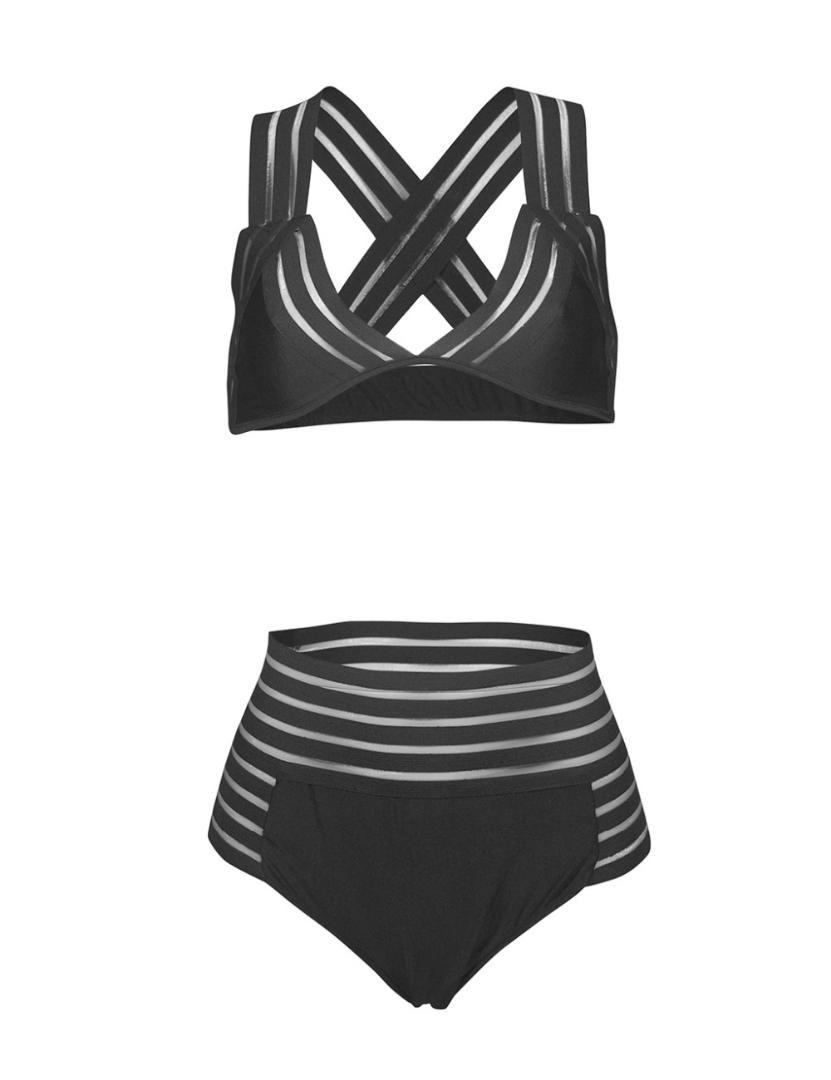 2018 High Waist Stripped Hollow Out Net Bikini Set Swimsuit Bathing Suit Swimwear