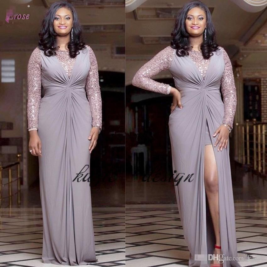 New Design African Plus Size Evening Dresses Sequins Long Sleeves Front  Split Chiffon Sheath Custom Made Women Formal Wear Party Prom Gowns ...