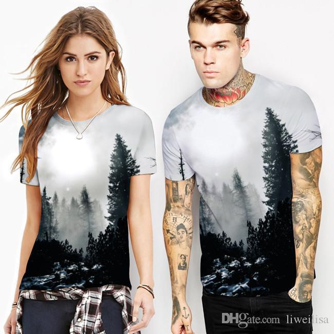 Las Kosmiczny Wzór 3D Drukowanie Koszulka Mężczyźni Tshirt Krótkie Rękawy Męskie Koszulki Moda Summer Casual Cool Tee Koszula Homme